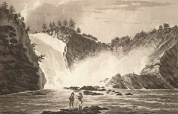 A View of the Falls of MONTMORENCI: the perpendicular height of which is 240 feet from the level of the River